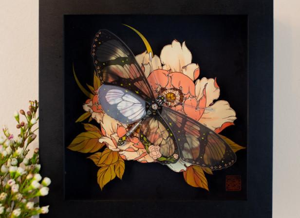 Stipple Pop - Glasswing Butterfly Shadowbox - Erica Williams.jpg