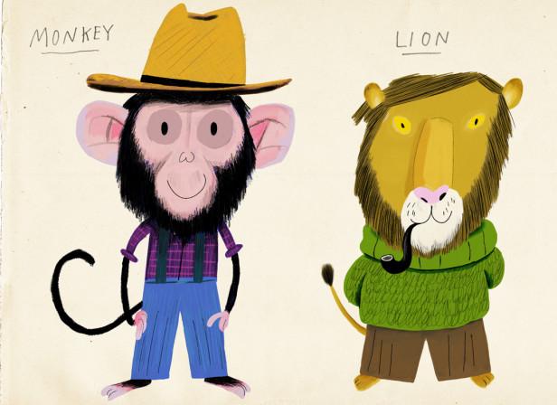 Monkey Lion Turkey Characters