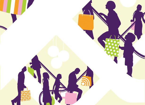 Shoppers Shopping Escalators Luxury Design Week