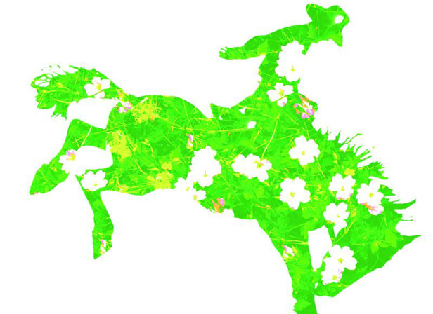 Cowboy Riding A Bucking Horse Flower