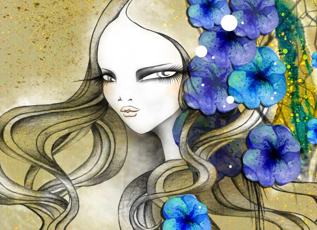 Floral Hair Beauty Bird