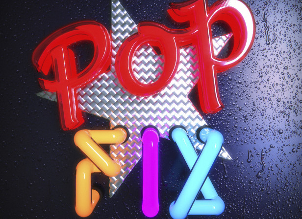 POP Fix CD Cover Neon 3D Typography EMI